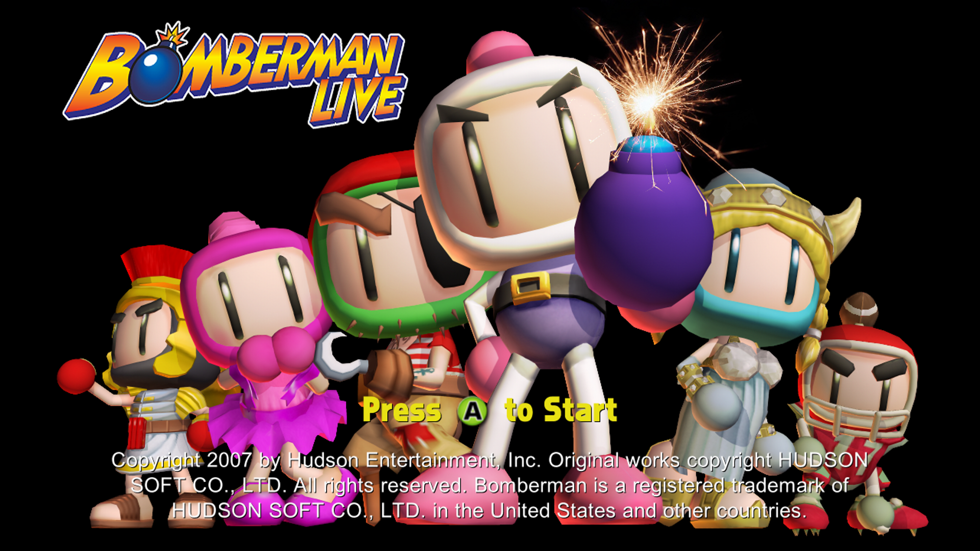 Bomberman LIVE Xbox 360 Title screen