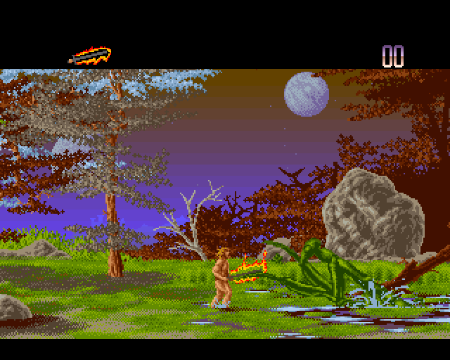 Unreal Amiga Fighting a praying mantis in the first Shadow of the Beast-inspired platform level.