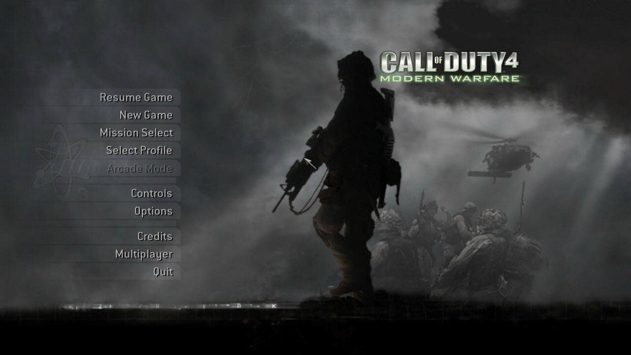 Call of Duty 4: Modern Warfare Windows Main menu