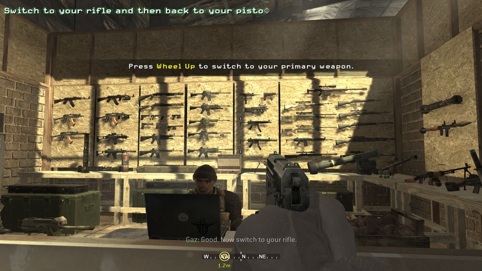 Call of Duty 4: Modern Warfare Windows The game has a really wide arsenal for the player to mess around with, every singe weapon that you see in this shot becomes available on the game!