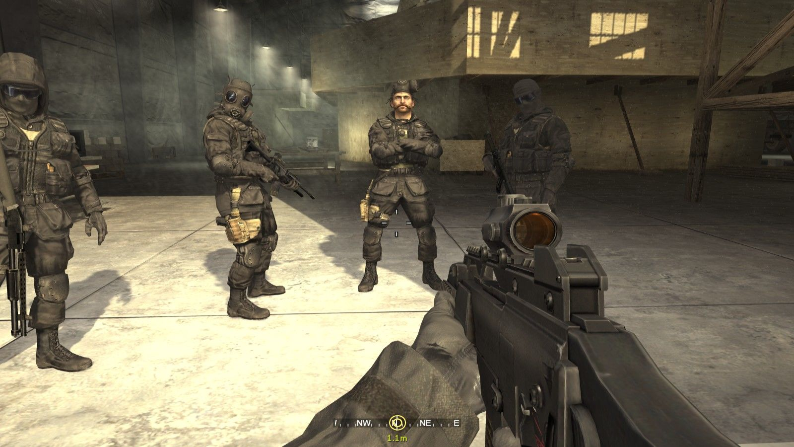 Call of Duty 4: Modern Warfare Windows As you meet your S.A.S. squad mates, capt. Price takes the piss off your name (which is 'Soap' by the way). Notice the funny stance of the second guy from the left :)