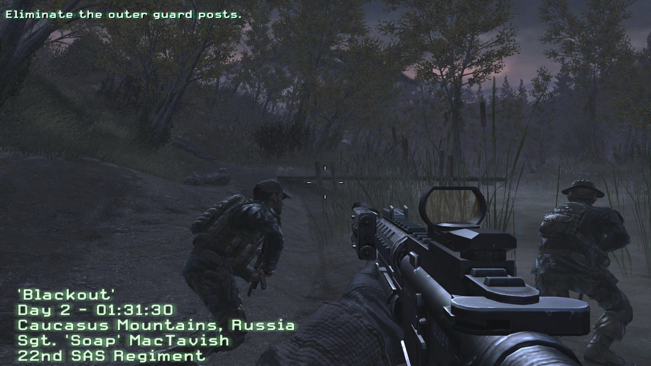 Call of Duty 4: Modern Warfare Windows The S.A.S. team deployed in some Russian woods in a mission to rescue an informer.