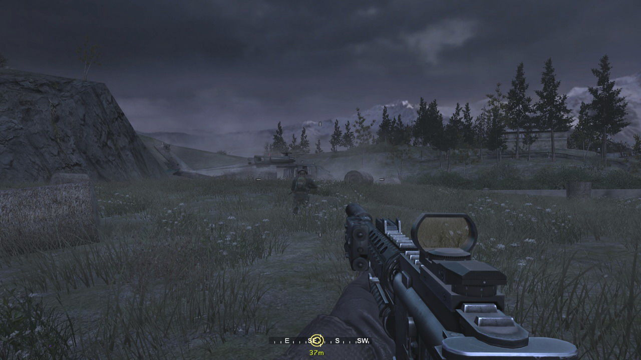 Call of Duty 4: Modern Warfare Windows Following my team mate through the field.