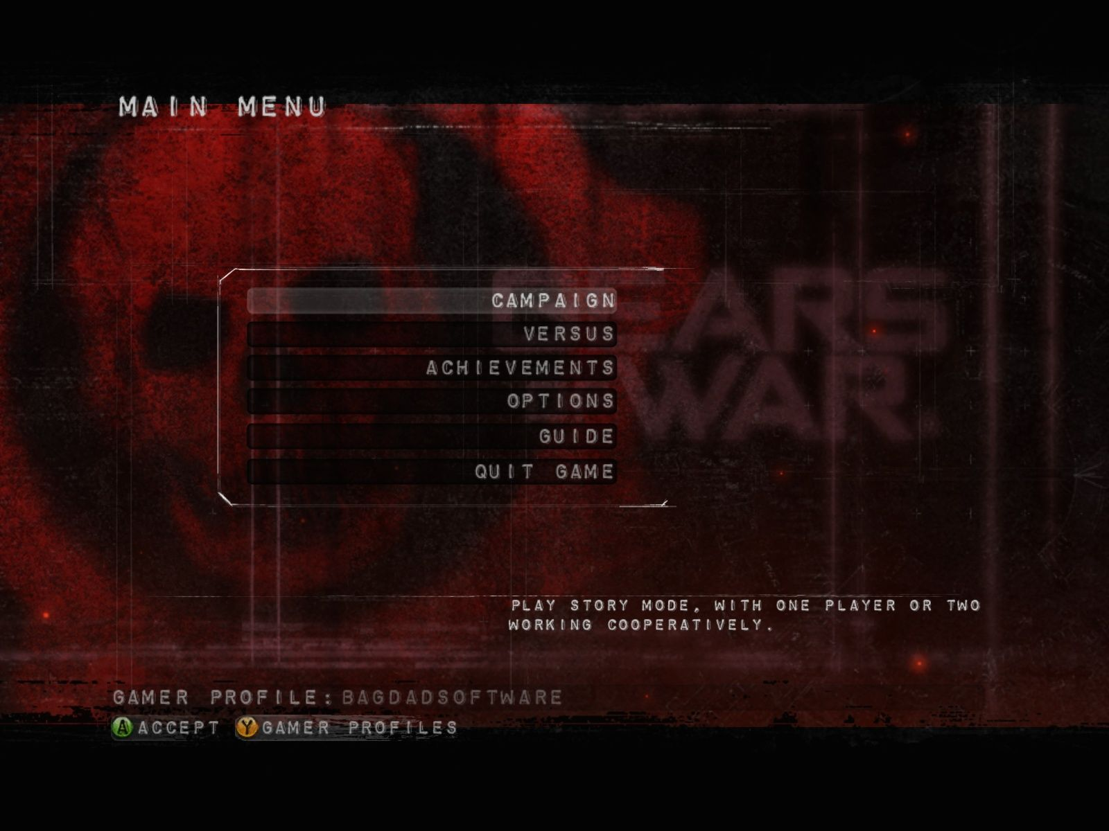Gears of War Windows Main menu