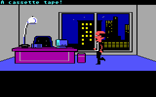 Maniac Mansion Commodore 64 Mark Eteer, the head of the Three Guys Who Will Publish Anything, in a cutscene.