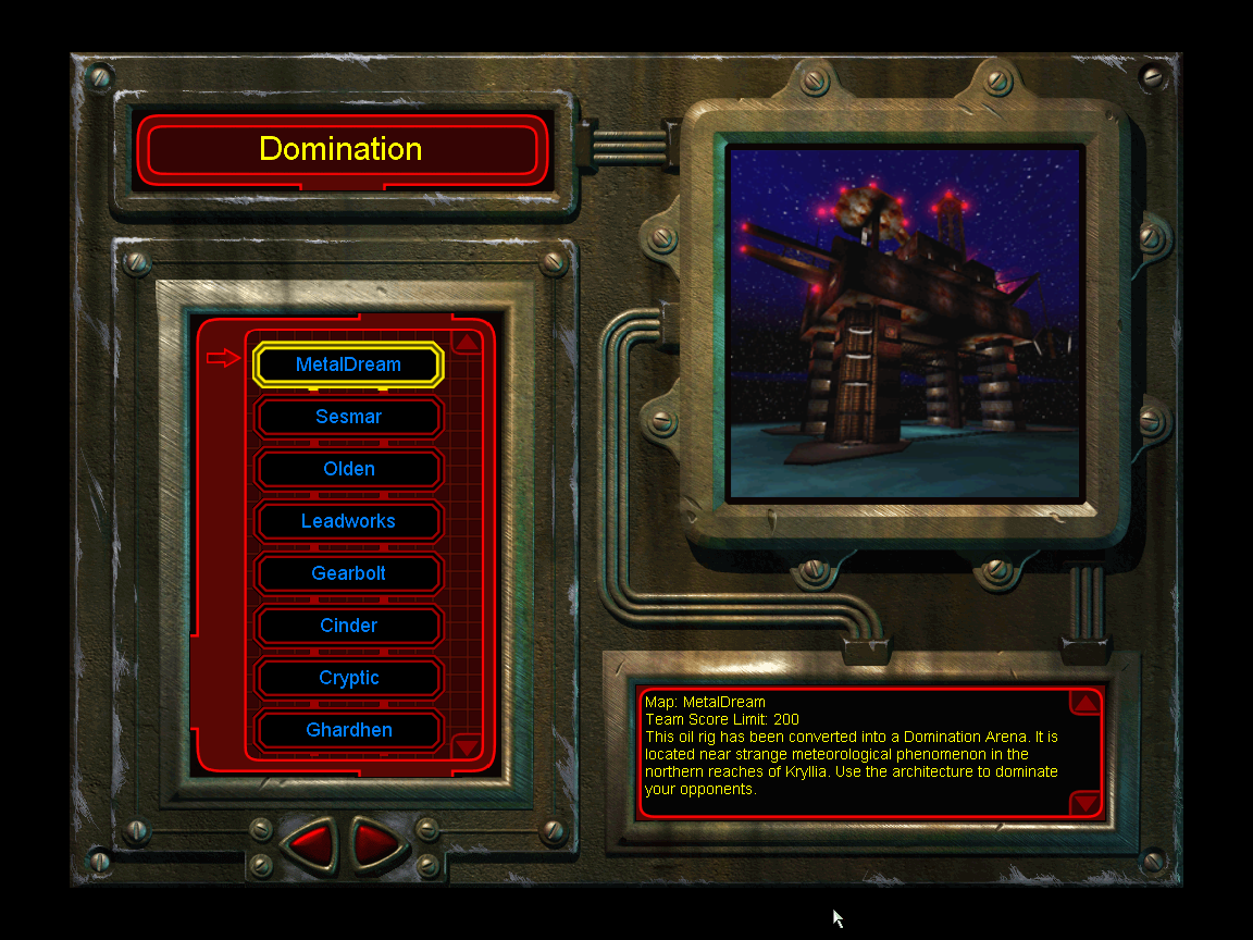 Unreal Tournament Windows Game menu