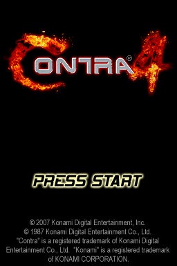 Contra 4 Nintendo DS Title screen. With fire and FMV explosions.