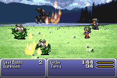 Final Fantasy III Game Boy Advance Terra casting Fire magic.