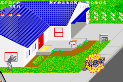 PaperBoy / Rampage Game Boy Advance Paperboy: hitting moving obstacles creates this profanity crowd.