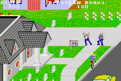PaperBoy / Rampage Game Boy Advance Paperboy: these two guys are either fighting or dancing.