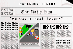 PaperBoy / Rampage Game Boy Advance Paperboy: you poor score is displayed on a newspaper.