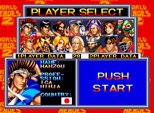 World Heroes 2 Neo Geo Here's the entire cast of the game.