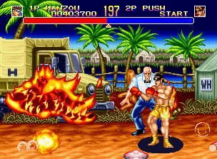 World Heroes 2 Neo Geo Several stages have different hazards. Here? I stepped on a mine.