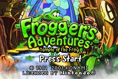 Frogger's Adventures: Temple of the Frog Game Boy Advance Title Screen