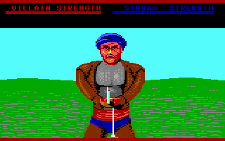 Sinbad and the Throne of the Falcon Commodore 64 Sword fighting with a thug.