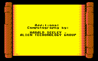 Sinbad and the Throne of the Falcon Commodore 64 Credits on a scroll?