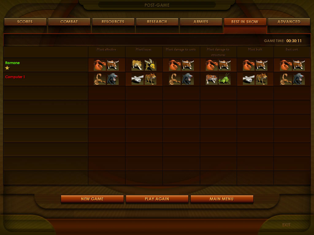 Impossible Creatures Windows After a match, you can see a complete report of the combat, including the best creatures.