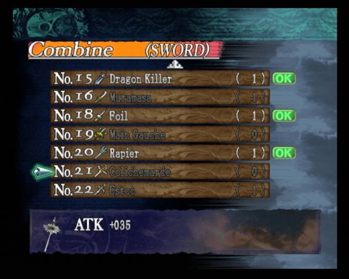 Castlevania: Curse of Darkness PlayStation 2 Combine menu: List of swords you can forge