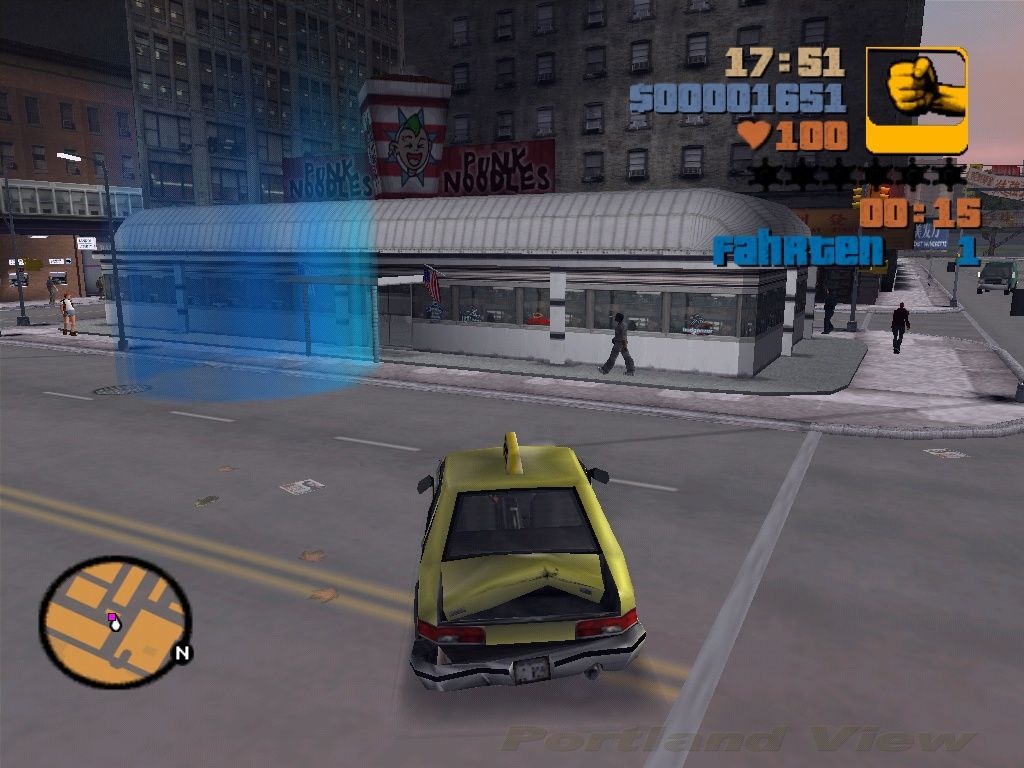 Grand Theft Auto III Windows A taxi job. The blue circle is the target where the customer wants to be brought to.