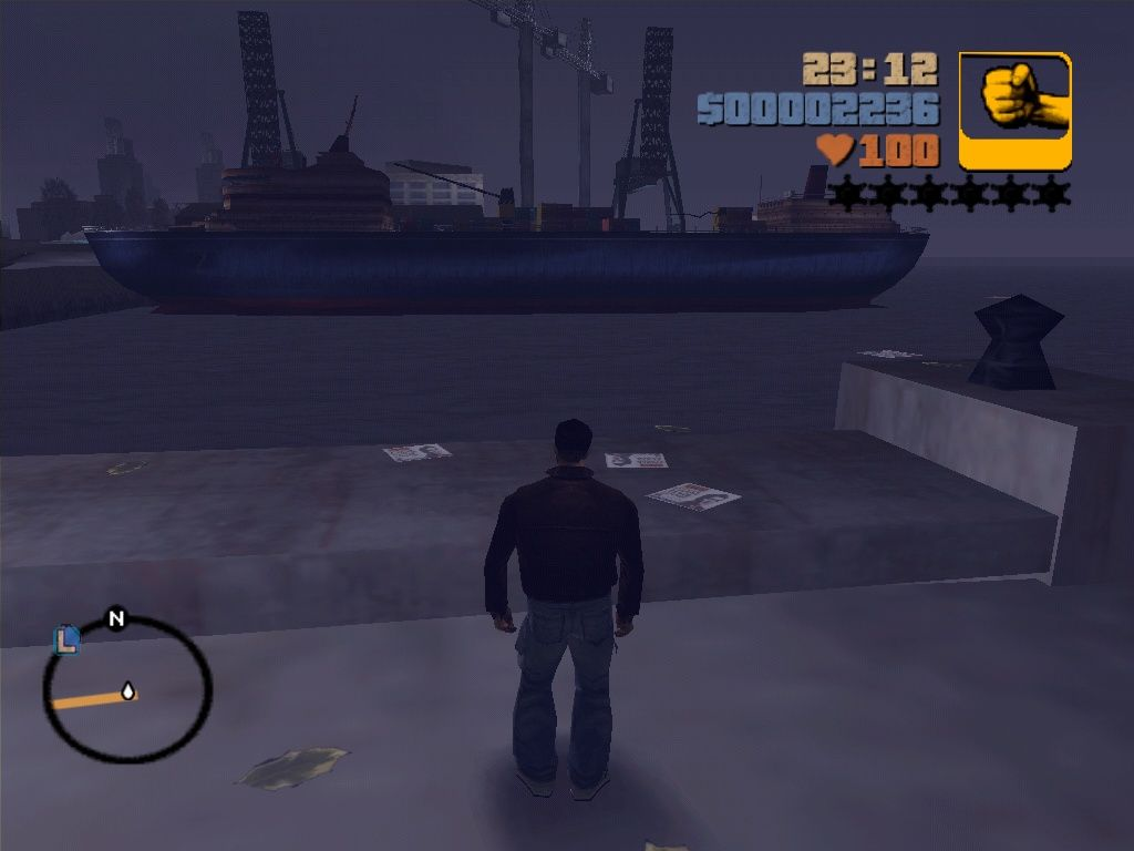 Grand Theft Auto III Windows I love these lonely nights at the harbour, just standing here in the night, watching, thinking...