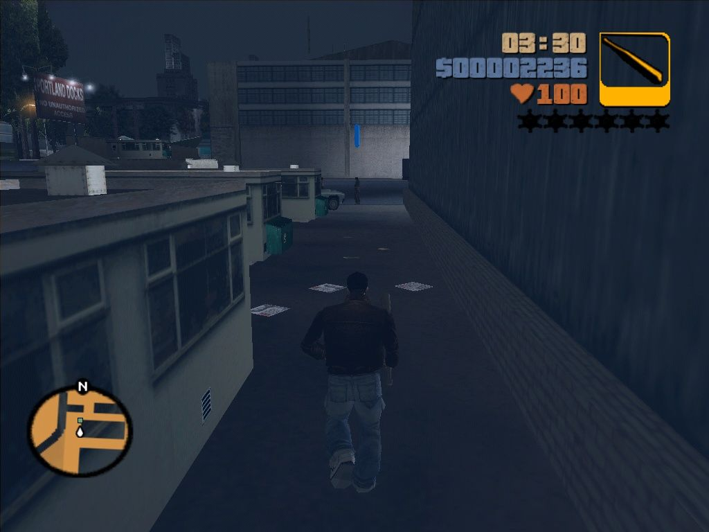 Grand Theft Auto III Windows Thats the job: kick the stupid drug dealer's (he's marked with a blue arrow) ass...