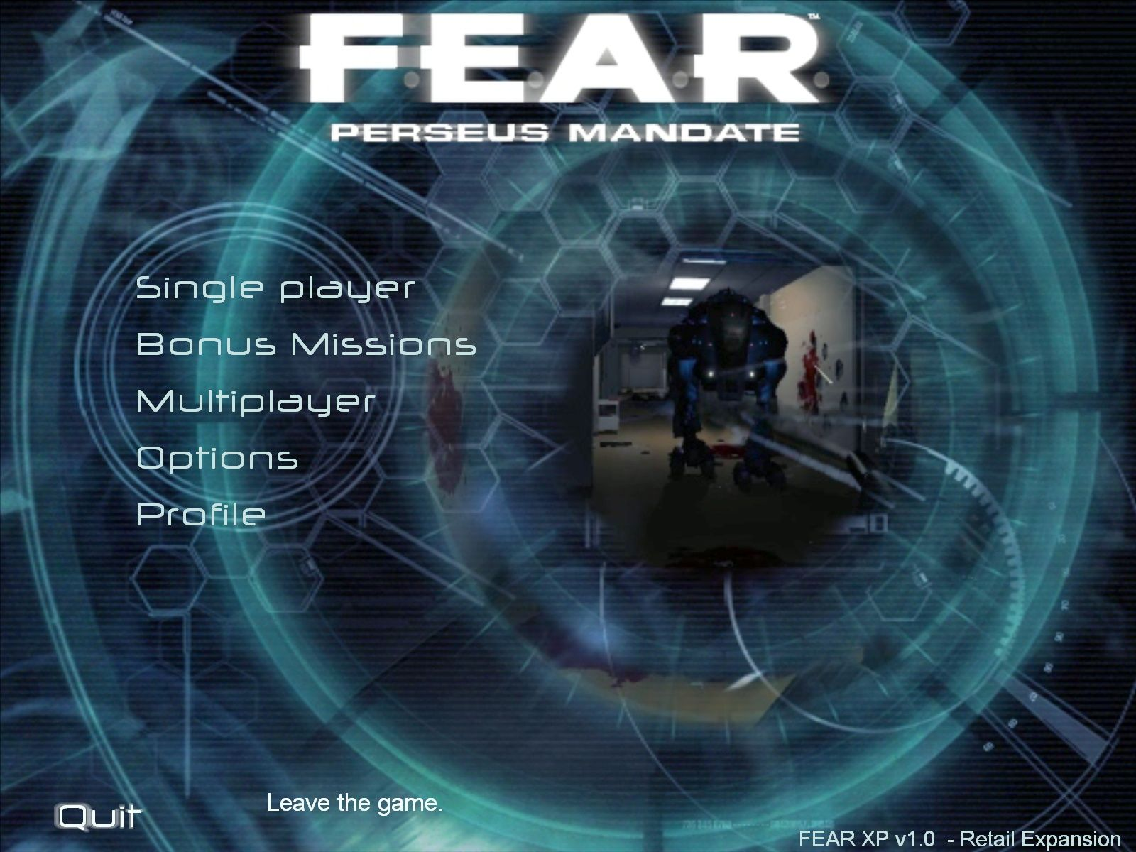 F.E.A.R.: Perseus Mandate Windows Main menu