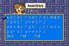 Lufia: The Ruins of Lore Game Boy Advance Registering in the game...Default character name may be changed...