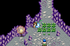 Lufia: The Ruins of Lore Game Boy Advance Cutting the grass with the knife to make a passage