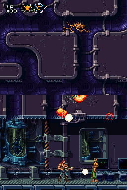 Contra 4 Nintendo DS Level 2 starts out in a lab. Watch out for mutants dropping from the upper screen.