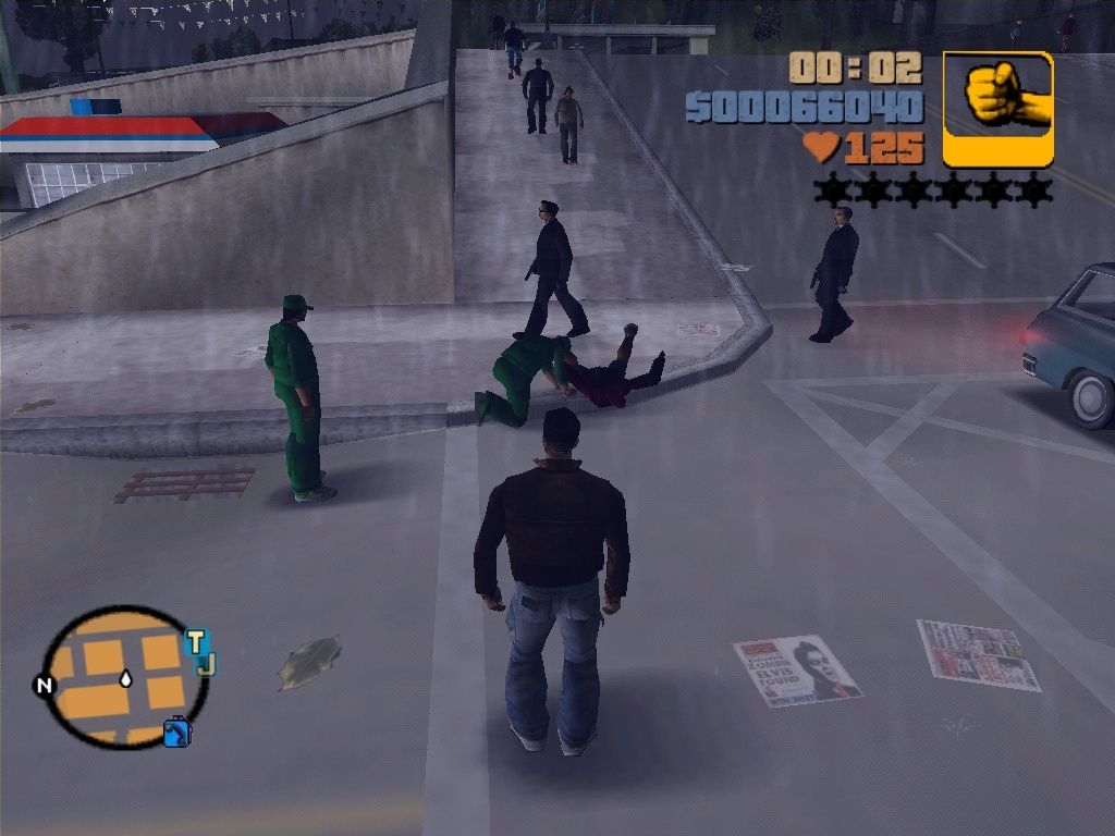 Grand Theft Auto III Windows Details, details... this shot was made after a gang fight I accidentally stepped into. Six men shot down some other guy, now the medics (green suits) try to reanimate the victim.