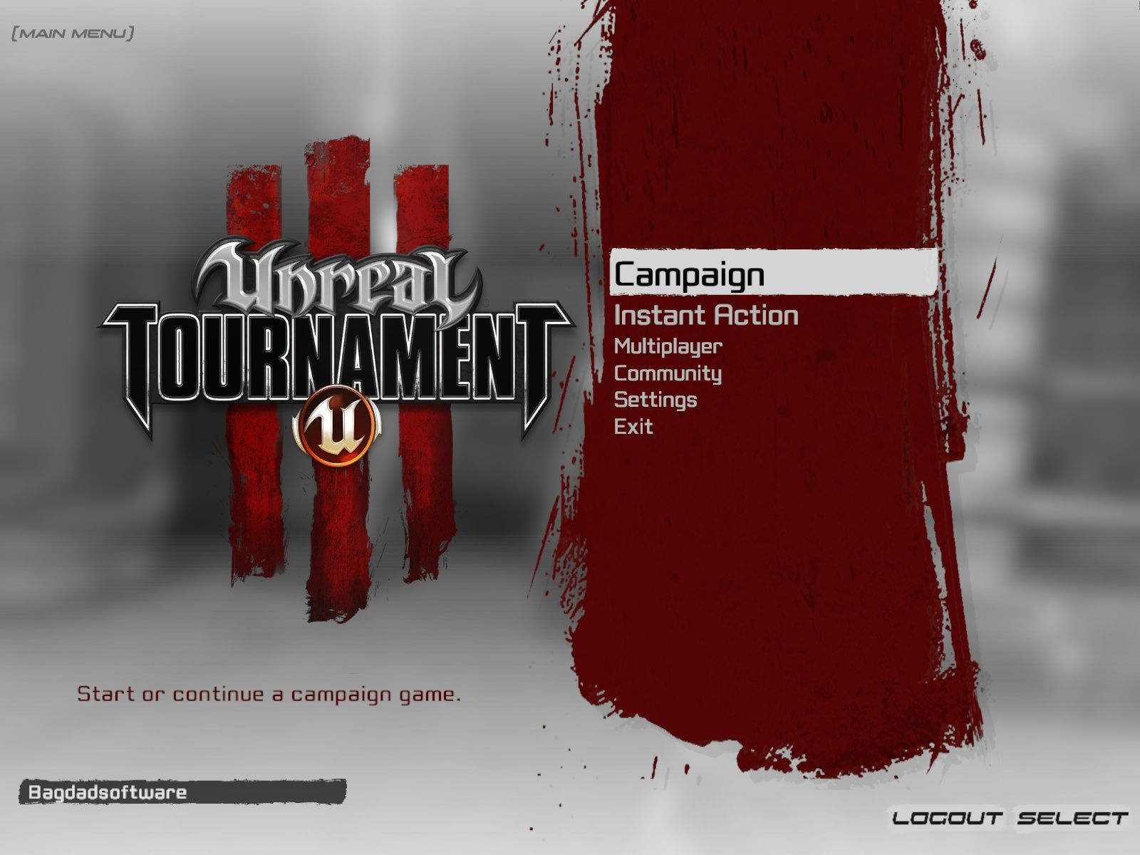 Unreal Tournament III Windows Main menu
