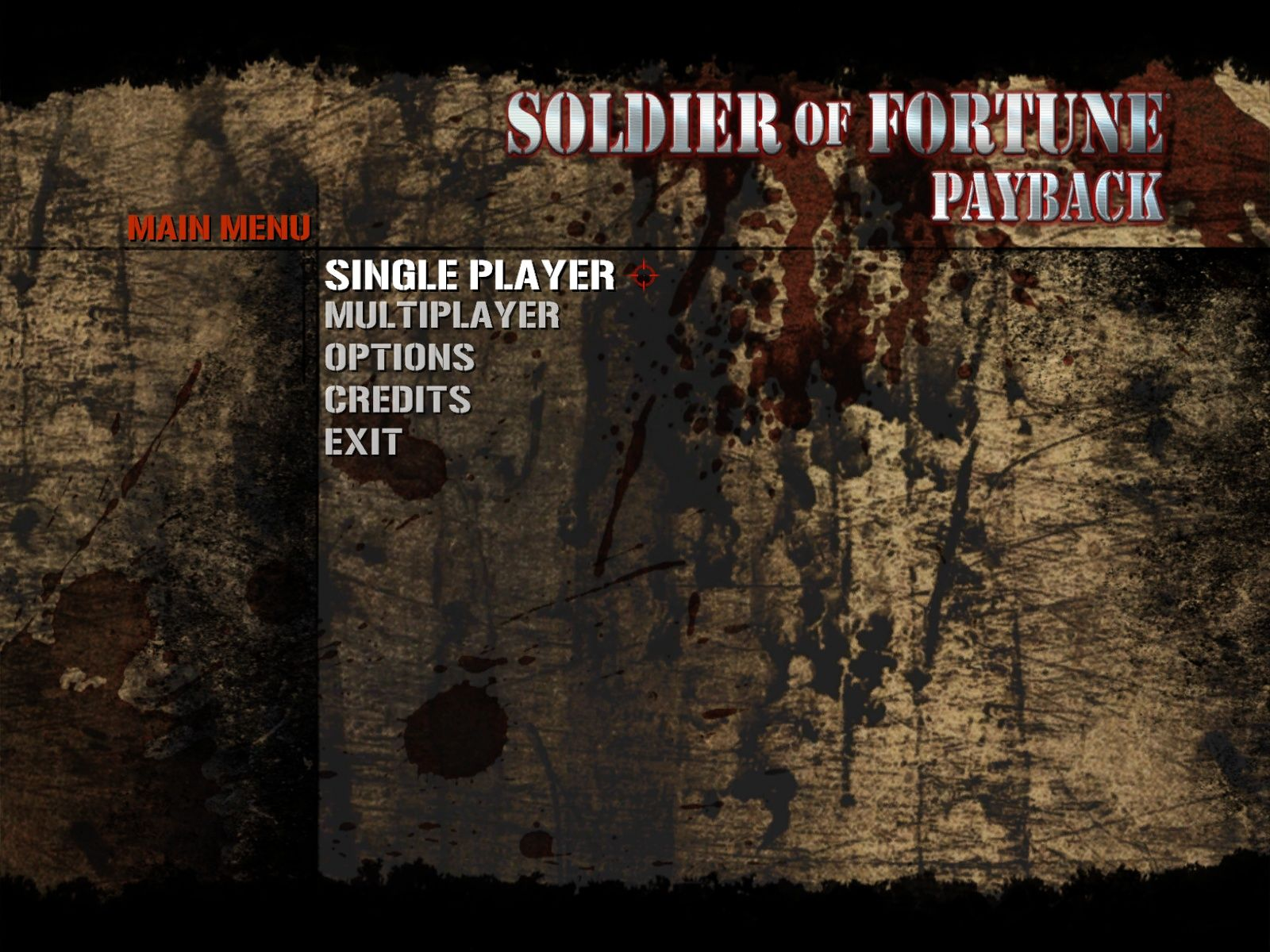 Soldier of Fortune: Payback Windows Main menu