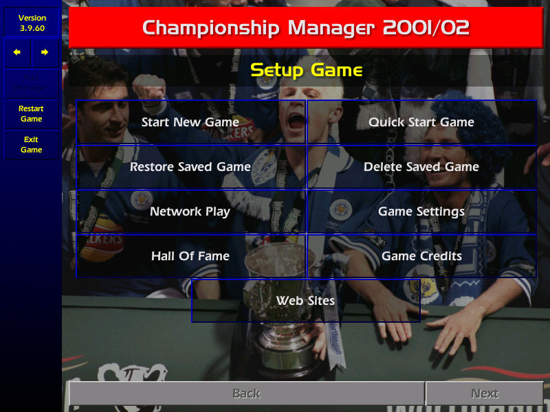 Championship Manager: Season 01/02 Windows Main Menu Screen