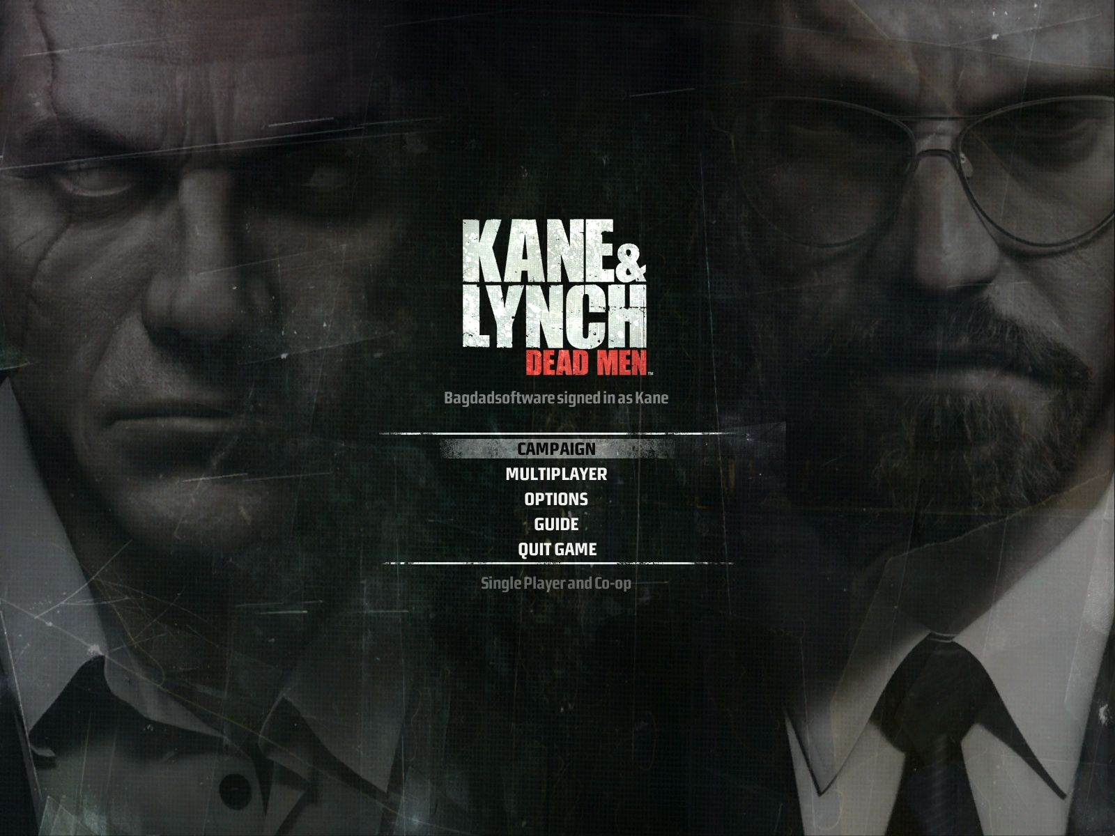 Kane & Lynch: Dead Men Windows Main menu