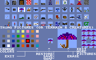 Stuart Smith's Adventure Construction Set Amiga Editing the graphics of the things.