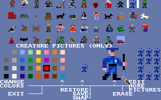 Stuart Smith's Adventure Construction Set Amiga Editing the people and creatures.