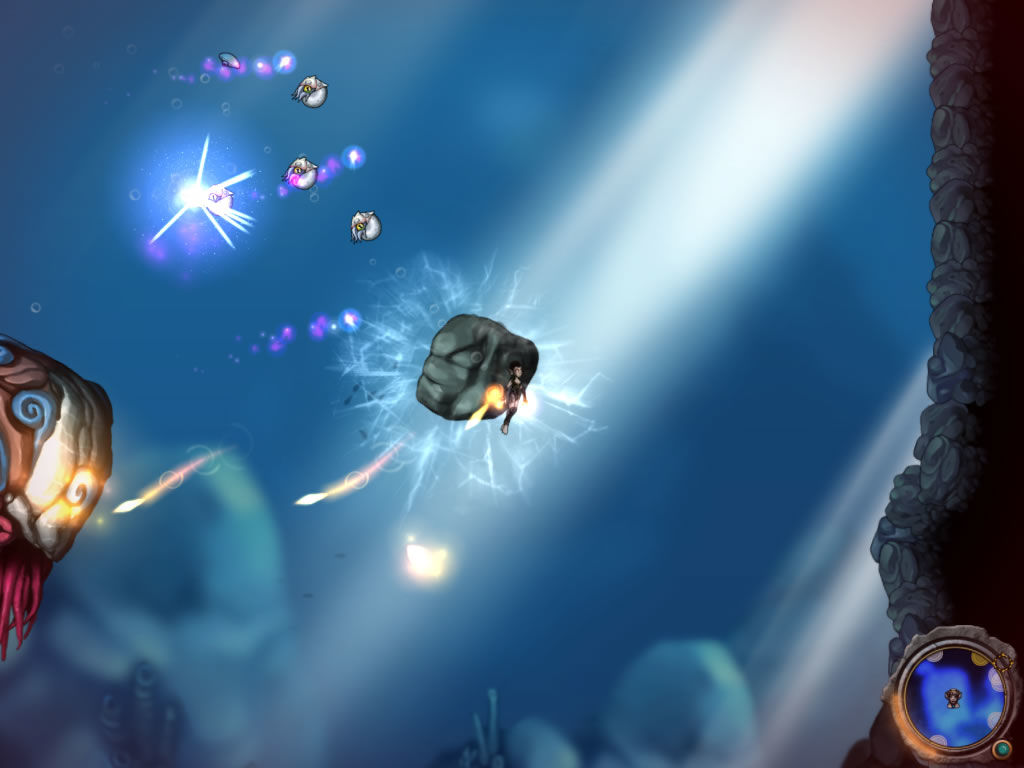 Aquaria Windows Attacking a difficult enemy while carrying around a rock.