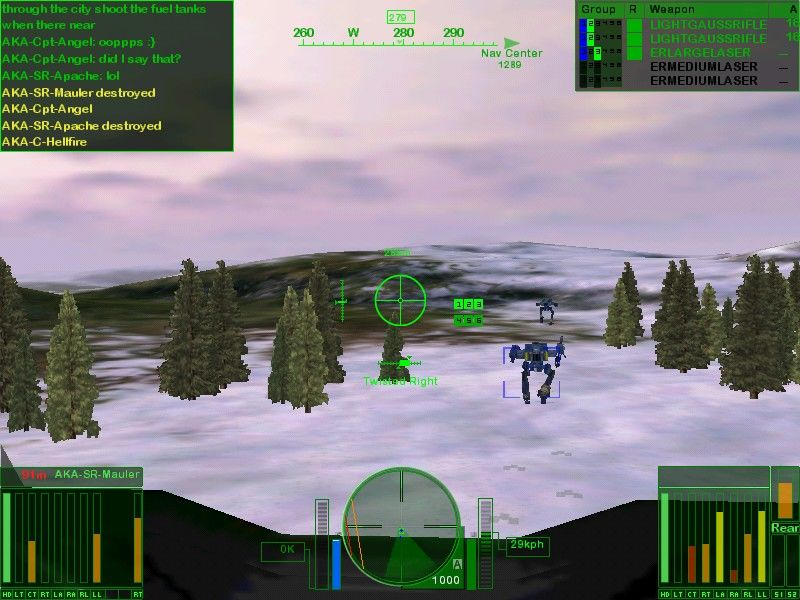 MechWarrior 4: Vengeance Windows two badly damaged Shadowcats