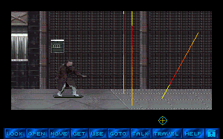 Tex Murphy 2: Martian Memorandum sur PC 266863-martian-memorandum-dos-screenshot-tex-rides-a-hoverboard-marty