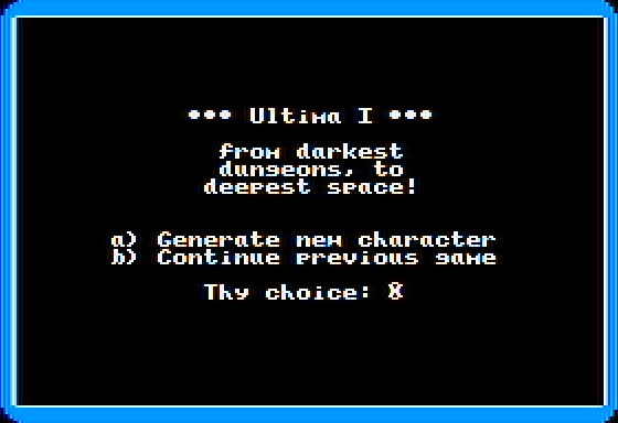 Ultima I: The First Age of Darkness Apple II Main menu