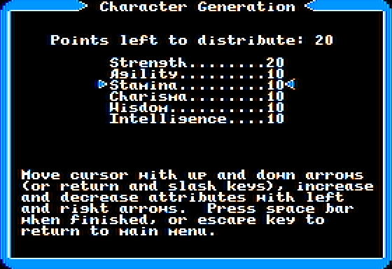 Ultima I: The First Age of Darkness Apple II Character Generation