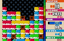 Mr. Driller WonderSwan Color Crushed by block.