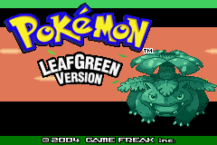 Pokémon LeafGreen Version Game Boy Advance Title screen