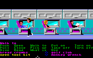 Zak McKracken and the Alien Mindbenders Amiga Zak on an airplane.