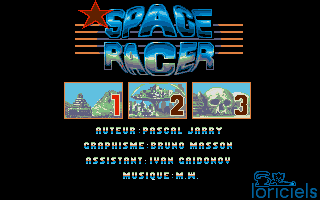 Space Racer Atari ST Level select and info screen