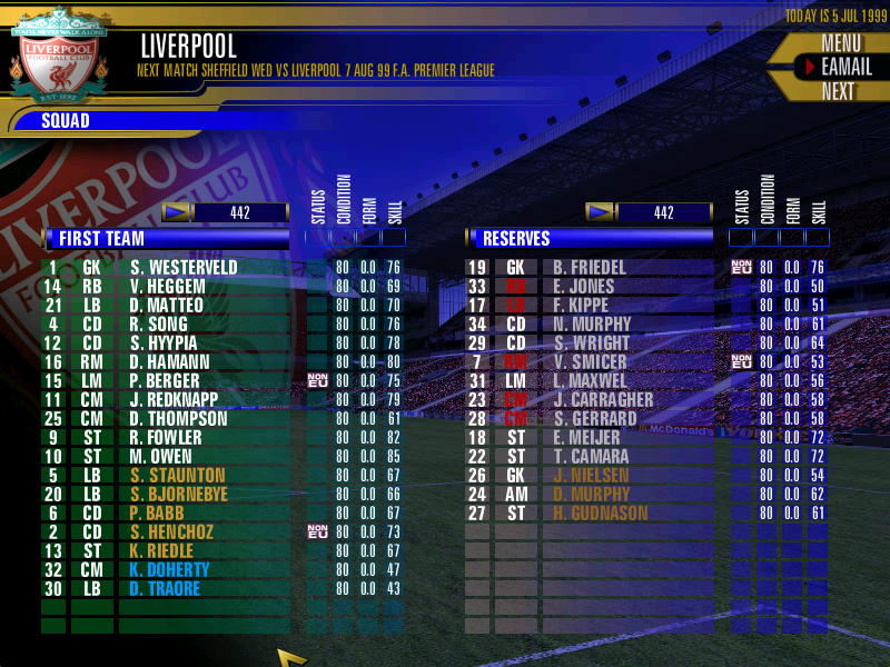 Fa premier league football manager 2000 screenshots for for Premier league table 99 2000