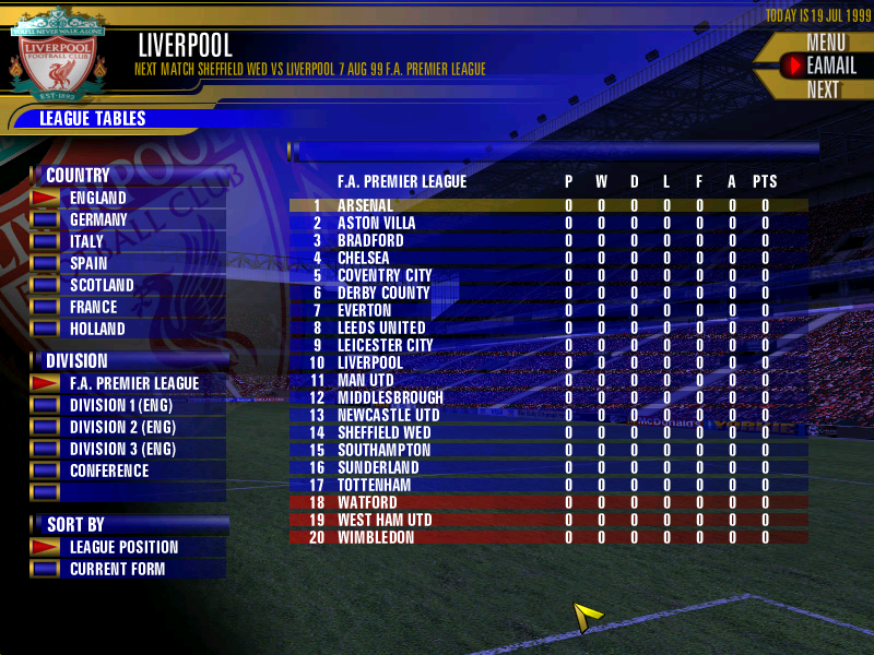 Fa premier league football manager 2000 screenshots for - Premier league football league table ...