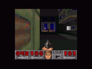 DOOM SNES The distance visibility on the SNES is really, really poor. You nearly can't see the two enemies in the background.