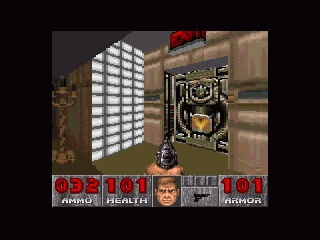 DOOM SNES The exit of level 1. They changed this room a bit - the finer details are gone.