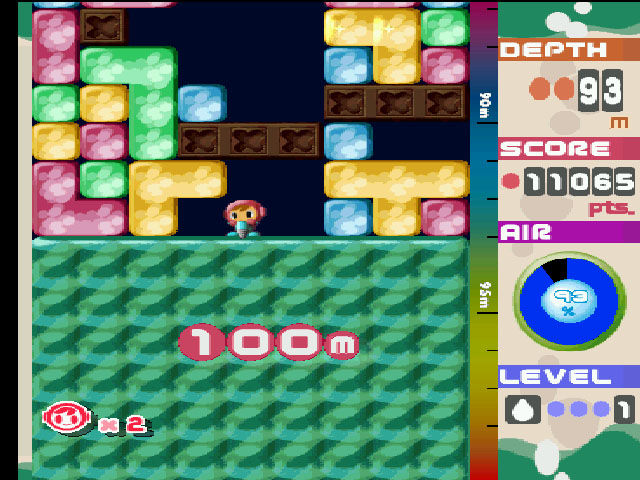 Mr. Driller PlayStation *Phew!* Only 400 meters to go!